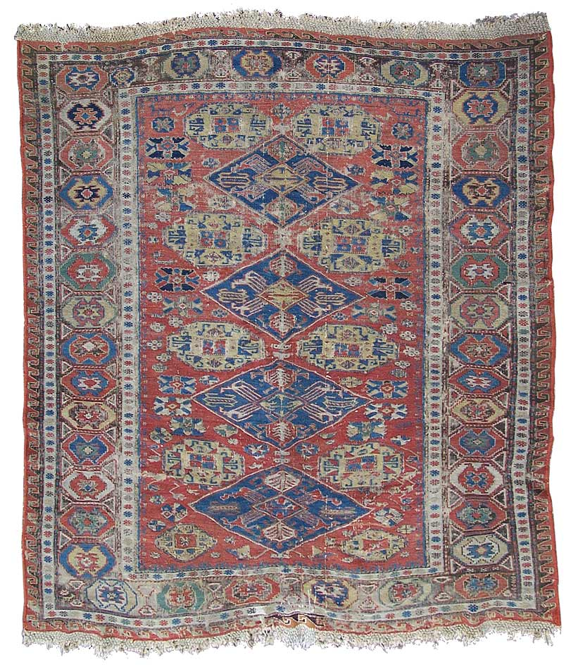 Caucasian Rugs Uk: Soumak Rug With Diamond Medallions, SOLD